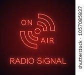 radio signal neon light icon.... | Shutterstock .eps vector #1057085837