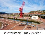 red crane in the centre of... | Shutterstock . vector #1057097057