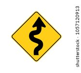 usa traffic road sign. winding... | Shutterstock .eps vector #1057120913