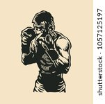 boxers logo design. vector... | Shutterstock .eps vector #1057125197