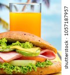 juice and sandwich showing... | Shutterstock . vector #1057187957