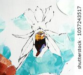 pansy flower. acrylic sketch.... | Shutterstock . vector #1057243517