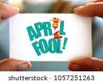 april fools day design. person... | Shutterstock . vector #1057251263