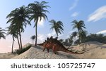 kentrosaurus on shore hills - stock photo