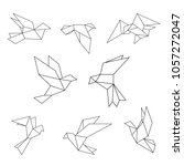 set of black line geometric... | Shutterstock .eps vector #1057272047