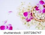 top view  jasmines  orchid in... | Shutterstock . vector #1057286747