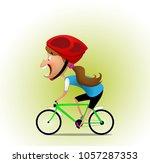 a little girl is riding a... | Shutterstock .eps vector #1057287353