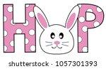 happy easter hop bunny | Shutterstock . vector #1057301393