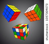 rubik s cube in different... | Shutterstock .eps vector #1057309073