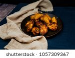 chicken wings with sauce and... | Shutterstock . vector #1057309367