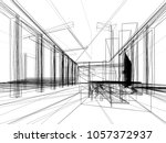 sketch design of interior hall  ... | Shutterstock . vector #1057372937
