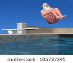 Santa Pool: Santa Claus in mid air doing a cannonball dive. - stock photo