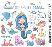 marine life illustrations set.... | Shutterstock .eps vector #1057374437