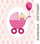 a little girl in a pink... | Shutterstock .eps vector #1057376687