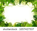 Jungle Tropical Landscape Background/ Illustration of a jungle landscape background, with ornaments made with leaves and foliage of tropical plants and trees | Shutterstock vector #1057427537