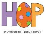 happy easter hop egg | Shutterstock .eps vector #1057455917