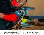 industry worker cutting metal...