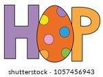 happy easter hop egg | Shutterstock . vector #1057456943