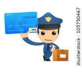 funny cartoon policeman in... | Shutterstock .eps vector #105750467