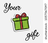 green gift icon with red bow in ... | Shutterstock .eps vector #1057567097
