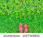 Foot Relax On The Green Field....
