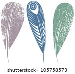 a set of feathers | Shutterstock .eps vector #105758573
