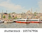 ISTANBUL, TURKEY - JUNE 03: Cruise ferries in Eminonu Port near Yeni Cami on June 03, 2012 in Istanbul, Turkey. Nearly 150,000 passengers use ferryboat daily in Istanbul. - stock photo