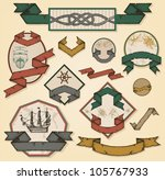 vintage sea labels set | Shutterstock .eps vector #105767933