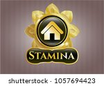 shiny badge with home icon and ... | Shutterstock .eps vector #1057694423