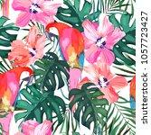 tropical seamless pattern. palm ...   Shutterstock .eps vector #1057723427