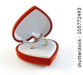 Diamond Ring In Heart Shape Box