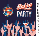 retro music. party in the night ... | Shutterstock .eps vector #1057731557