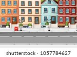 street with colorful houses... | Shutterstock .eps vector #1057784627