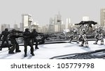 Space Marines and Combat Droids Battle in a futuristic science fiction city, 3d digitally rendered illustration - stock photo