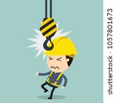 collision with crane  vector... | Shutterstock .eps vector #1057801673