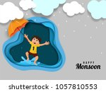 happy kid  enjoying rainy... | Shutterstock .eps vector #1057810553