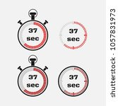 timer 37 seconds on gray... | Shutterstock .eps vector #1057831973