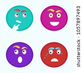 four emotional emojis with sad  ... | Shutterstock .eps vector #1057897493