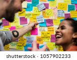 sticky notes on an office wall | Shutterstock . vector #1057902233