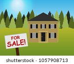 house on the lawn. the... | Shutterstock .eps vector #1057908713