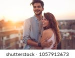 couple in love standing and... | Shutterstock . vector #1057912673