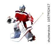 ice hockey goalie  polygonal... | Shutterstock .eps vector #1057952417