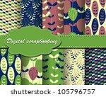 set of vector flower paper for... | Shutterstock .eps vector #105796757