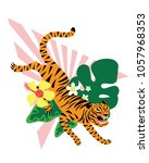 illustration with tiger and...   Shutterstock .eps vector #1057968353