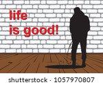 pissing guy. black and white... | Shutterstock .eps vector #1057970807