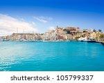 eivissa ibiza town with church... | Shutterstock . vector #105799337