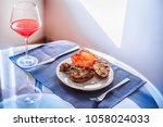 food. meat. pork or chicken or... | Shutterstock . vector #1058024033