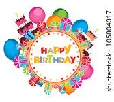 birthday card   Shutterstock .eps vector #105804317