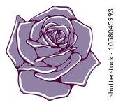 vector blue blooming rose bud | Shutterstock .eps vector #1058045993