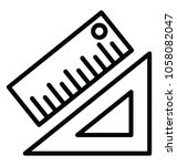 set square with scale  drafting ...   Shutterstock .eps vector #1058082047